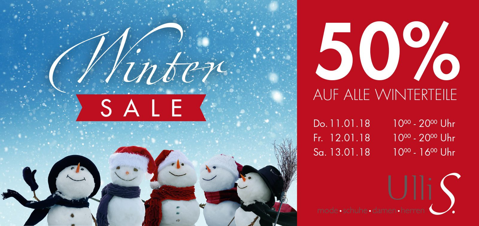 Winter Sale bei Ulli S. in Bad Säckingen | 50% Rabatt auf die gesamte Winter-Kollektion
